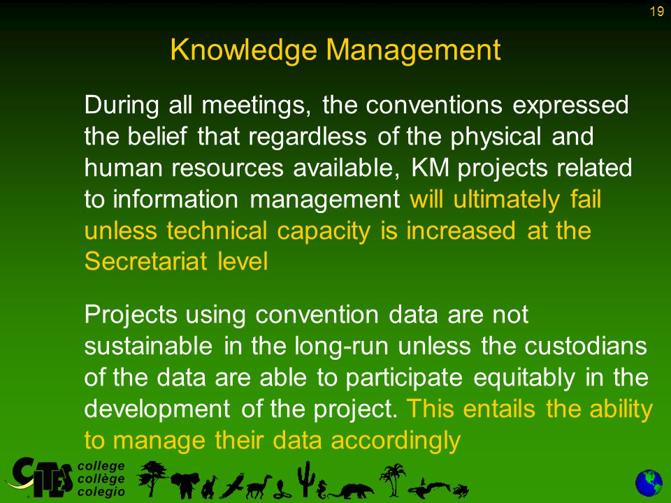 19 Knowledge Management During all meetings, the conventions expressed the belief that regardless of the physical and human resources available, KM projects related to information management will ultimately fail unless technical capacity is increased at the Secretariat level Projects using convention data are not sustainable in the long-run unless the custodians of the data are able to participate equitably in the development of the project.