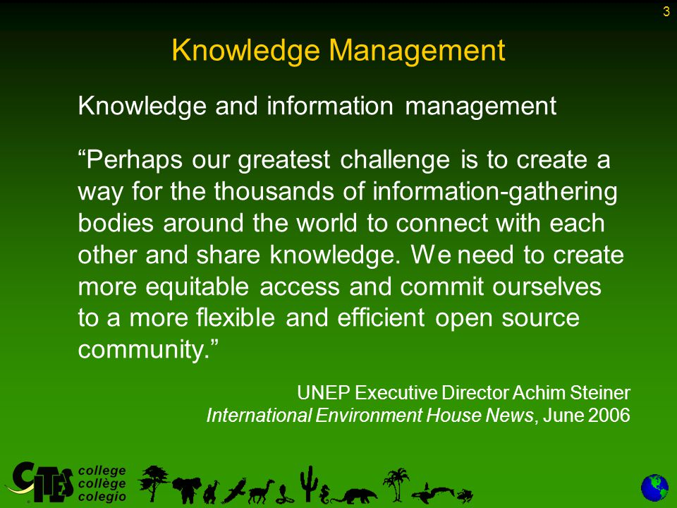 4 Knowledge Management There is little understanding of what knowledge is in the context of the United Nations system Knowledge Management (KM) is perceived differently by different organizations Knowledge management in the United Nations system (JIU/REP/2007/6)