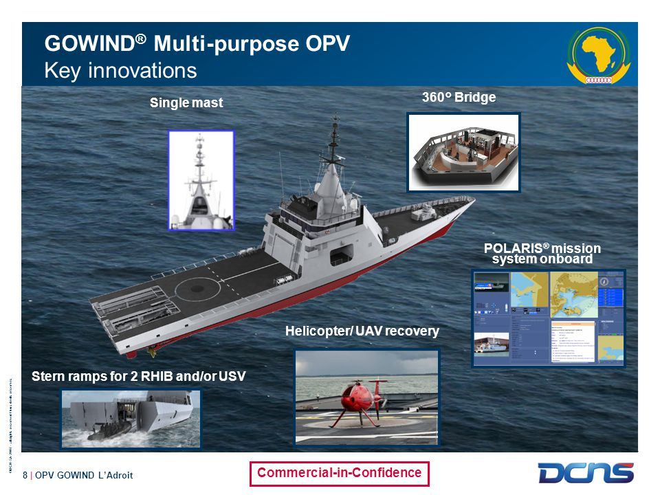 ©DCN-SA 2007 - all rights reserved / tous droits réservés Commercial-in-Confidence 9 | OPV GOWIND L'Adroit GOWIND ® Multi-purpose OPV Main design drivers Simple to operate Adaptable Easy to maintain Affordable