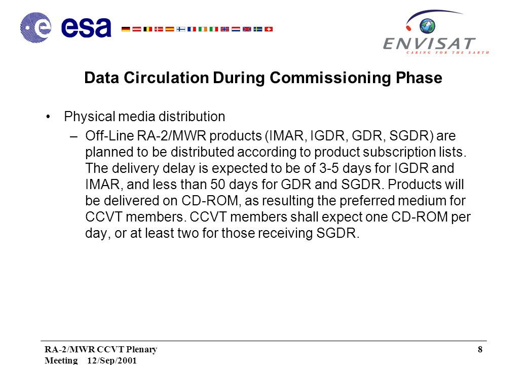 RA-2/MWR CCVT Plenary Meeting 12/Sep/2001 8 Data Circulation During Commissioning Phase Physical media distribution –Off-Line RA-2/MWR products (IMAR, IGDR, GDR, SGDR) are planned to be distributed according to product subscription lists.