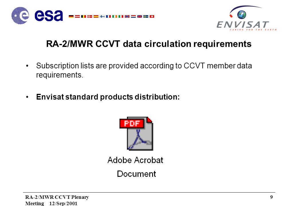 RA-2/MWR CCVT Plenary Meeting 12/Sep/2001 9 RA-2/MWR CCVT data circulation requirements Subscription lists are provided according to CCVT member data requirements.