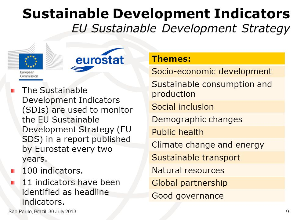 São Paulo, Brazil, 30 July 20139 Themes: Socio-economic development Sustainable consumption and production Social inclusion Demographic changes Public health Climate change and energy Sustainable transport Natural resources Global partnership Good governance The Sustainable Development Indicators (SDIs) are used to monitor the EU Sustainable Development Strategy (EU SDS) in a report published by Eurostat every two years.