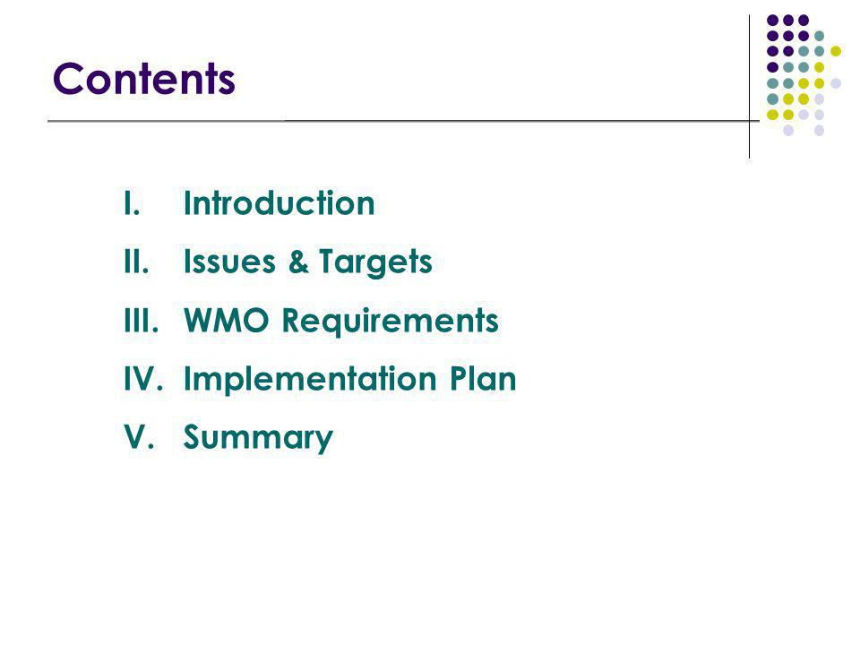 Contents I.Introduction II.Issues & Targets III.WMO Requirements IV.Implementation Plan V.Summary
