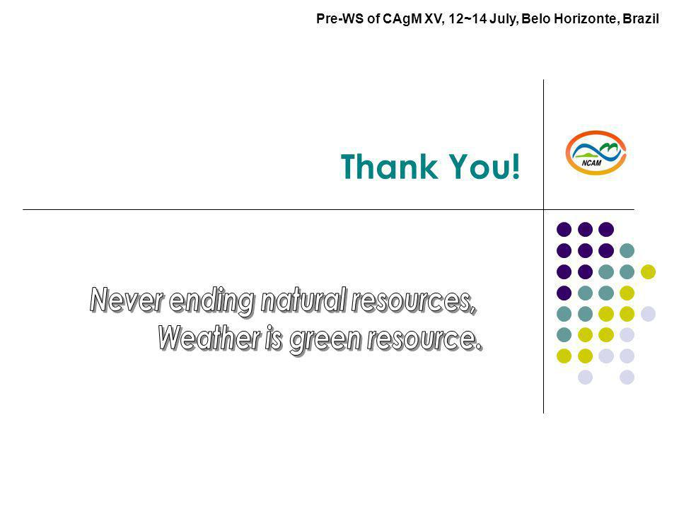 Thank You! Pre-WS of CAgM XV, 12~14 July, Belo Horizonte, Brazil