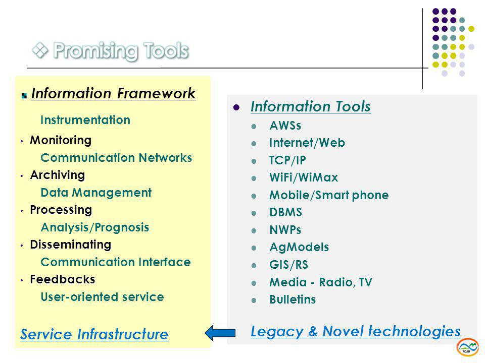 Information Tools AWSs Internet/Web TCP/IP WiFi/WiMax Mobile/Smart phone DBMS NWPs AgModels GIS/RS Media - Radio, TV Bulletins Legacy & Novel technologies Information Framework Instrumentation Monitoring Communication Networks Archiving Data Management Processing Analysis/Prognosis Disseminating Communication Interface Feedbacks User-oriented service Service Infrastructure