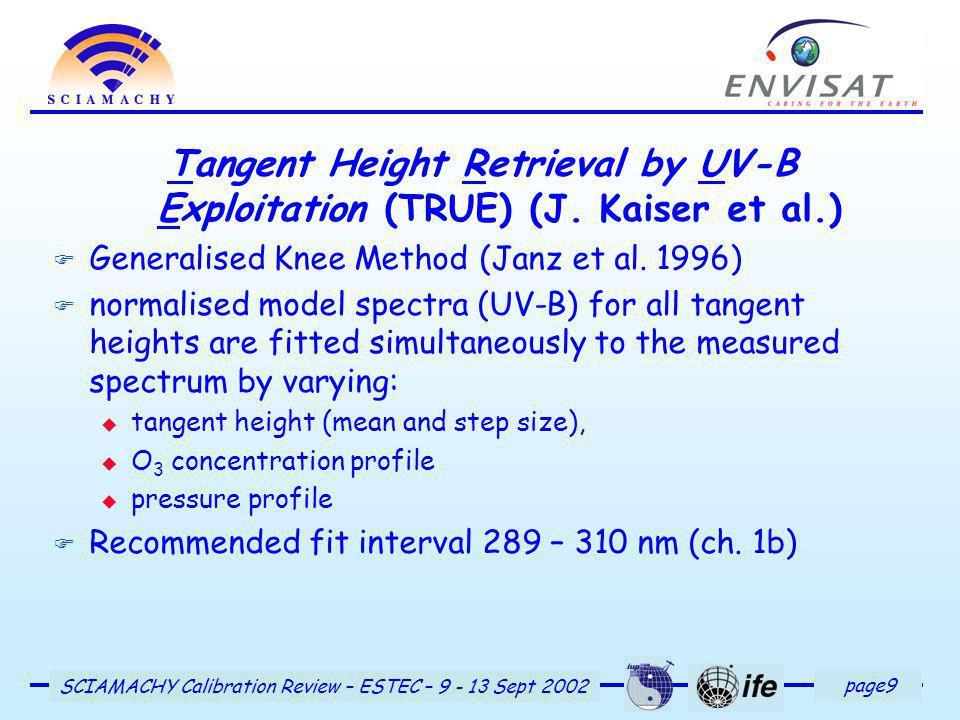 page9 SCIAMACHY Calibration Review – ESTEC – 9 - 13 Sept 2002 Tangent Height Retrieval by UV-B Exploitation (TRUE) (J.