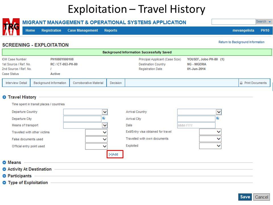 Exploitation – Travel History