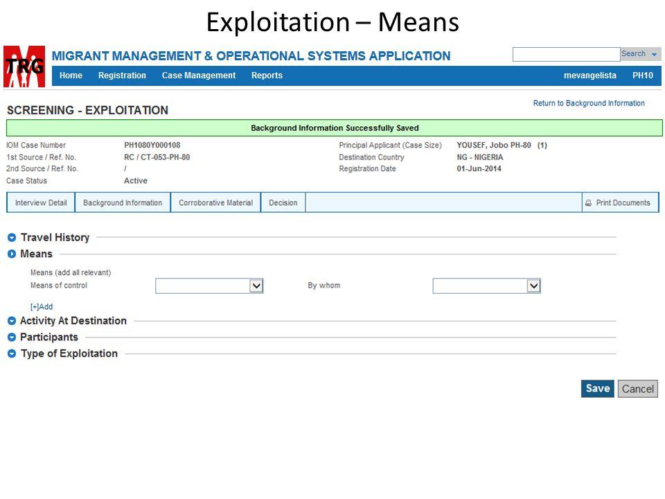 Exploitation – Means