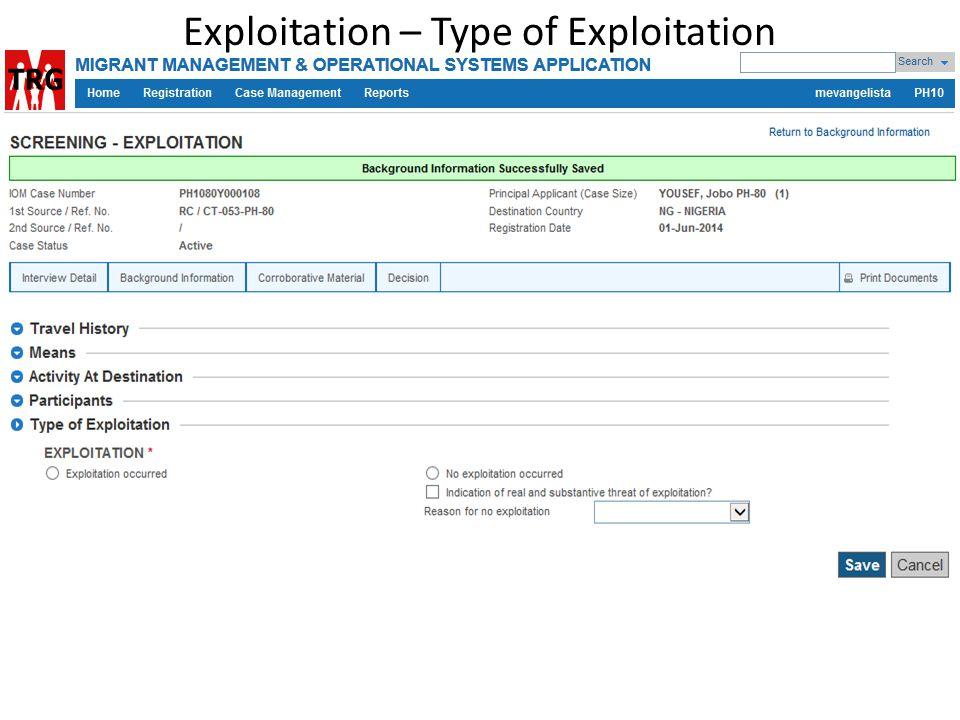 Exploitation – Type of Exploitation