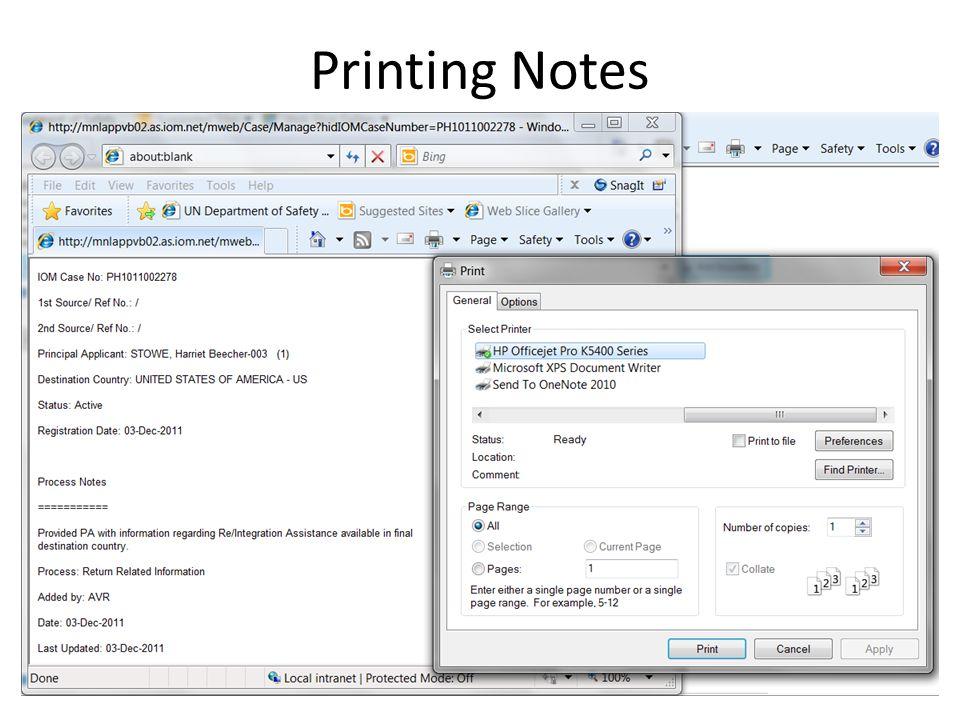 Printing Notes