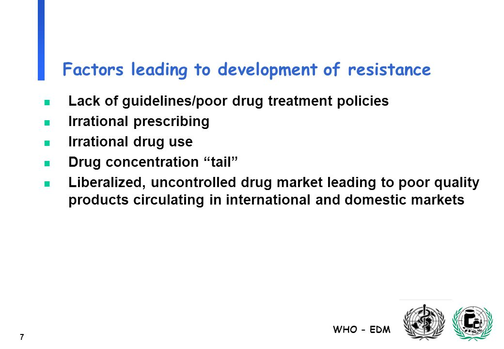 WHO - EDM 7 Factors leading to development of resistance n Lack of guidelines/poor drug treatment policies n Irrational prescribing n Irrational drug