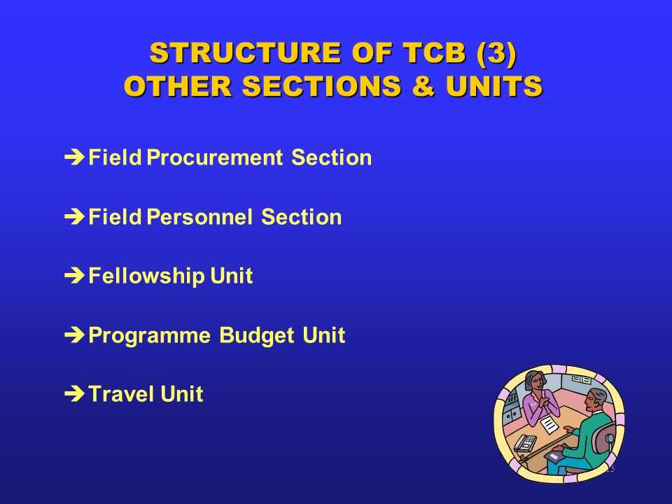 TCB-15 STRUCTURE OF TCB (3) OTHER SECTIONS & UNITS èField Procurement Section èField Personnel Section èFellowship Unit èProgramme Budget Unit èTravel