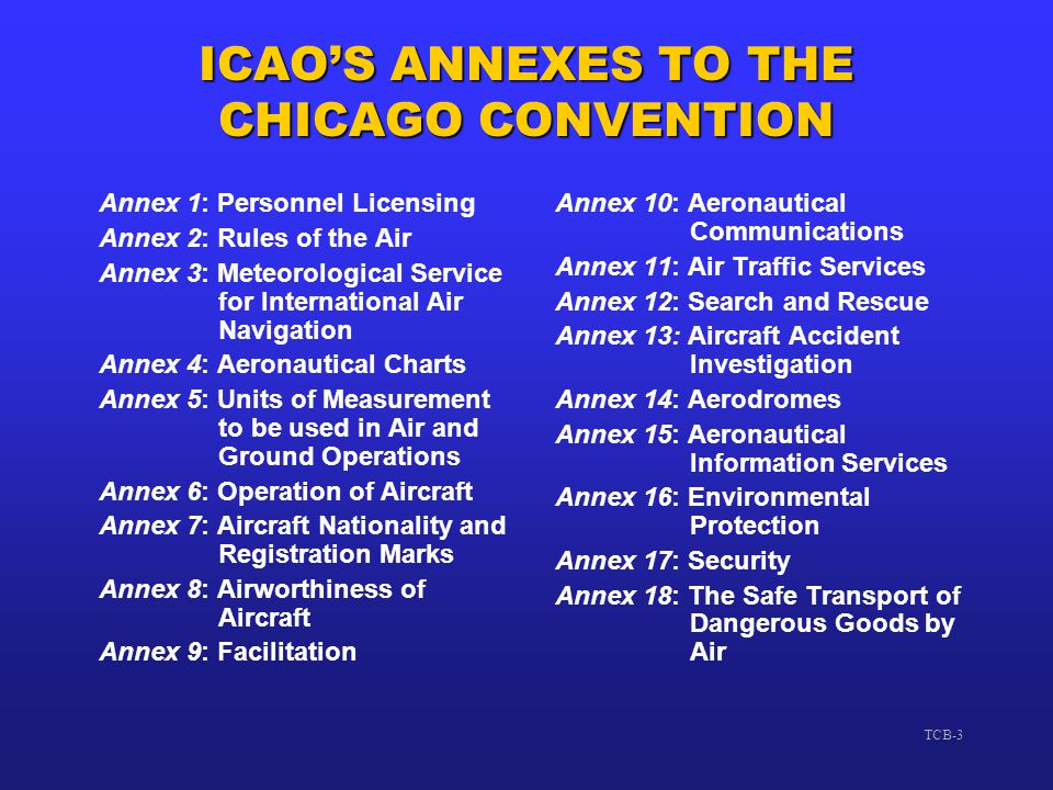 TCB-3 ICAO'S ANNEXES TO THE CHICAGO CONVENTION Annex 1: Personnel Licensing Annex 2: Rules of the Air Annex 3: Meteorological Service for Internationa