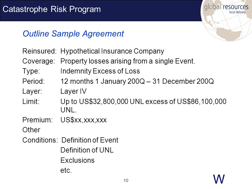 W 10 Catastrophe Risk Program Outline Sample Agreement Reinsured:Hypothetical Insurance Company Coverage:Property losses arising from a single Event.