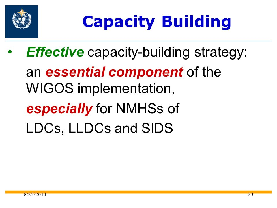 8/25/201423 Capacity Building Effective capacity-building strategy: an essential component of the WIGOS implementation, especially for NMHSs of LDCs, LLDCs and SIDS