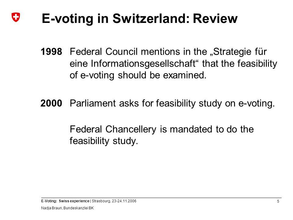 6 E-Voting: Swiss experience | Strasbourg, 23-24.11.2006 Nadja Braun, Bundeskanzlei BK E-voting in Switzerland: Review 2002Federal Council adopts report on chances, risks and feasibilty of e-voting in Switzerland.