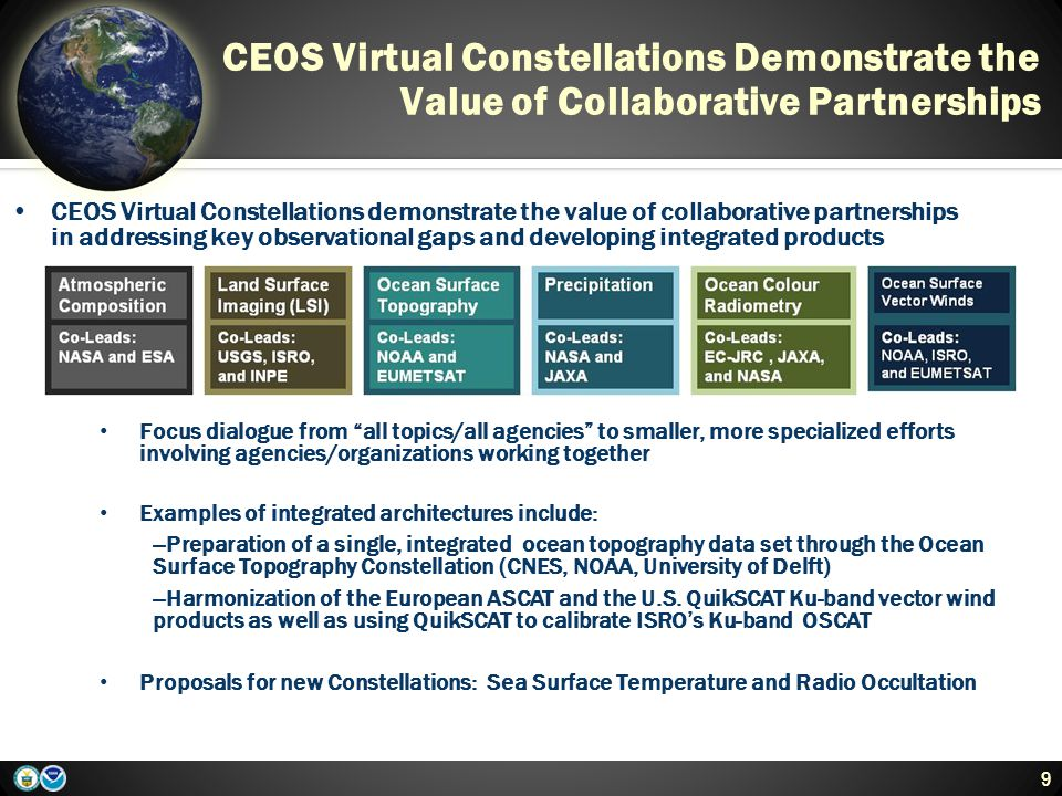 CEOS Virtual Constellations Demonstrate the Value of Collaborative Partnerships 9 CEOS Virtual Constellations demonstrate the value of collaborative partnerships in addressing key observational gaps and developing integrated products Focus dialogue from all topics/all agencies to smaller, more specialized efforts involving agencies/organizations working together Examples of integrated architectures include: --Preparation of a single, integrated ocean topography data set through the Ocean Surface Topography Constellation (CNES, NOAA, University of Delft) --Harmonization of the European ASCAT and the U.S.
