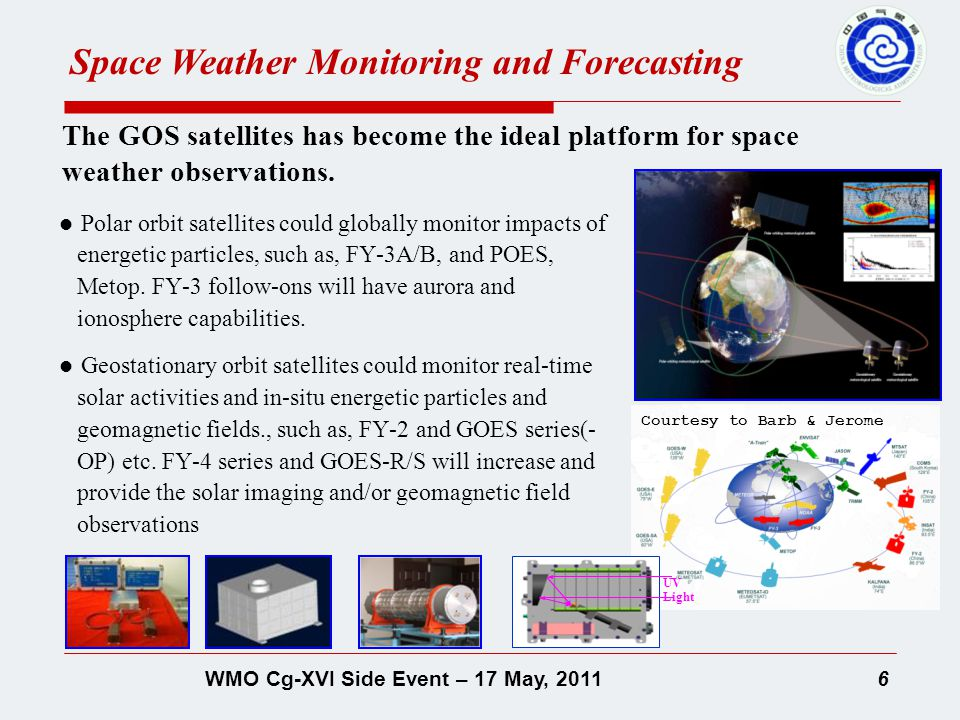 7WMO Cg-XVI Side Event – 17 May, 2011 The GOS satellites are unique and crucial, and the mission satellites also provide important observations for space weather.