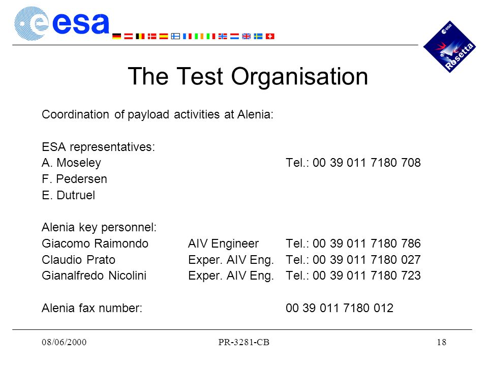 08/06/2000PR-3281-CB18 The Test Organisation Coordination of payload activities at Alenia: ESA representatives: A.