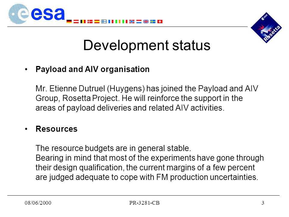 08/06/2000PR-3281-CB3 Development status Payload and AIV organisation Mr.