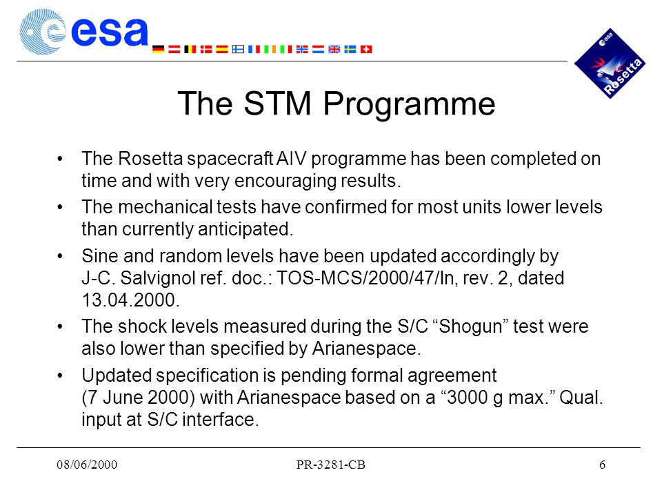 08/06/2000PR-3281-CB6 The STM Programme The Rosetta spacecraft AIV programme has been completed on time and with very encouraging results.