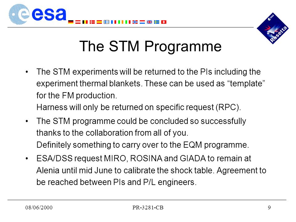 08/06/2000PR-3281-CB9 The STM Programme The STM experiments will be returned to the PIs including the experiment thermal blankets.