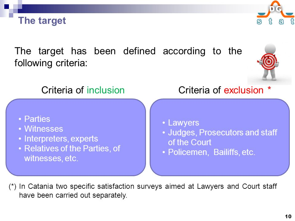The target The target has been defined according to the following criteria: Criteria of inclusion Parties Witnesses Interpreters, experts Relatives of the Parties, of witnesses, etc.