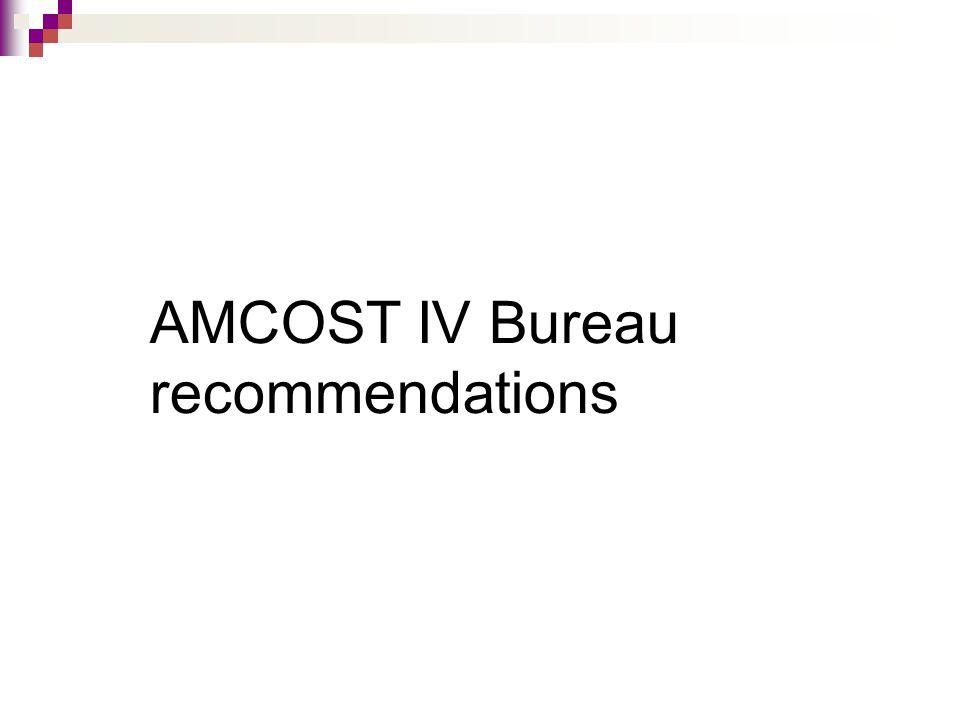 AMCOST IV Bureau recommendations