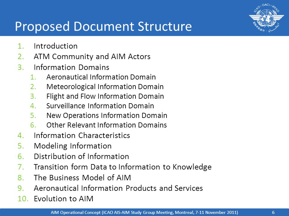 6 Proposed Document Structure 1.Introduction 2.ATM Community and AIM Actors 3.Information Domains 1.Aeronautical Information Domain 2.Meteorological Information Domain 3.Flight and Flow Information Domain 4.Surveillance Information Domain 5.New Operations Information Domain 6.Other Relevant Information Domains 4.Information Characteristics 5.Modeling Information 6.Distribution of Information 7.Transition form Data to Information to Knowledge 8.The Business Model of AIM 9.Aeronautical Information Products and Services 10.Evolution to AIM AIM Operational Concept (ICAO AIS-AIM Study Group Meeting, Montreal, 7-11 November 2011)