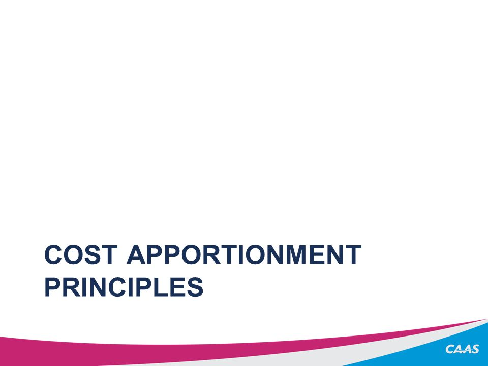 COST APPORTIONMENT PRINCIPLES