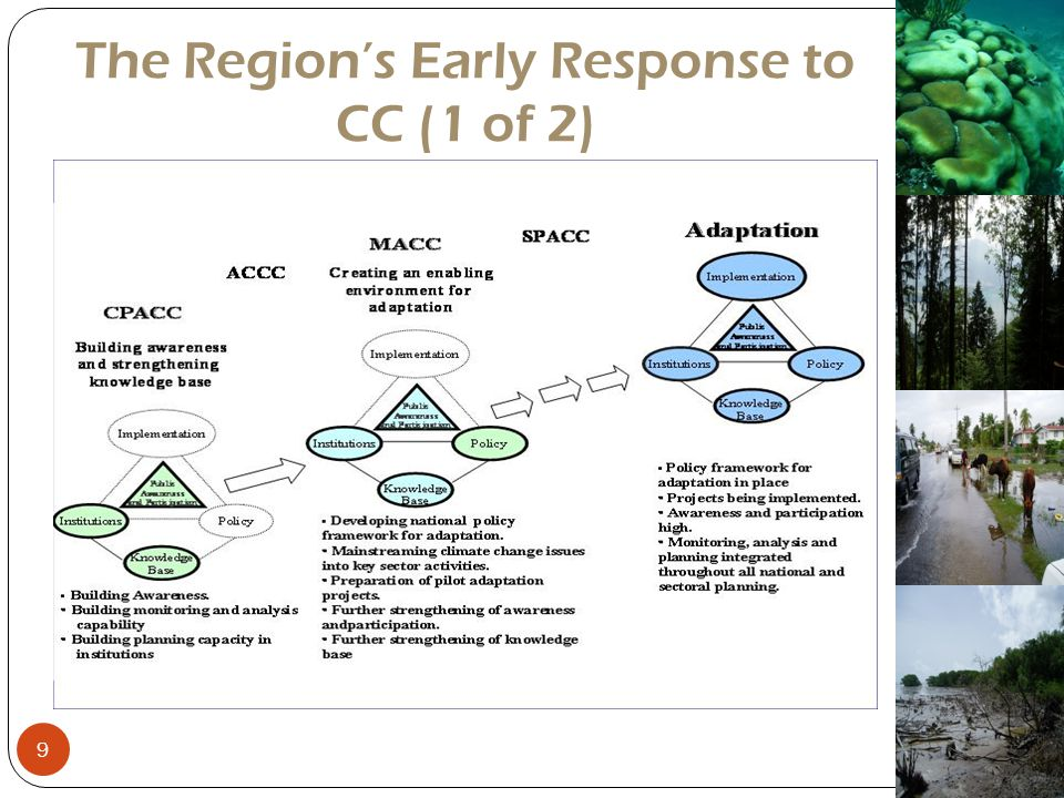 The Region's Early Response to CC (2 of 2) Identification of the need to institutionalise CC issues CARICM governments agreed to operationalise a Centre responsible for CC issues in 2002 The Caribbean Community Climate Change Centre (CCCCC) was formulated in 2004 and became fully operational in 2005 10