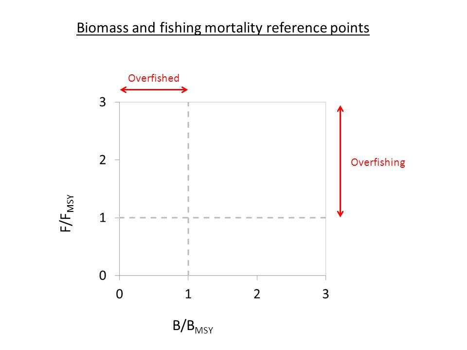 B/B MSY Biomass and fishing mortality reference points F/F MSY Overfished Overfishing