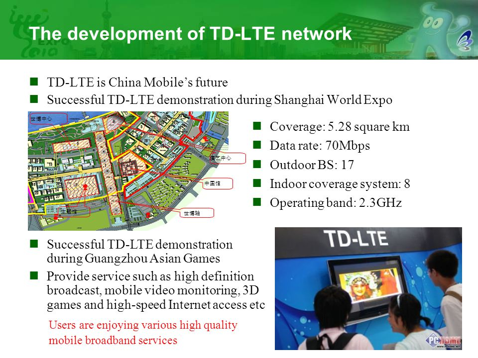 5 The development of TD-LTE network TD-LTE is China Mobile's future Successful TD-LTE demonstration during Shanghai World Expo 演艺中心 世博轴 中国馆 世博中心 主题馆 C