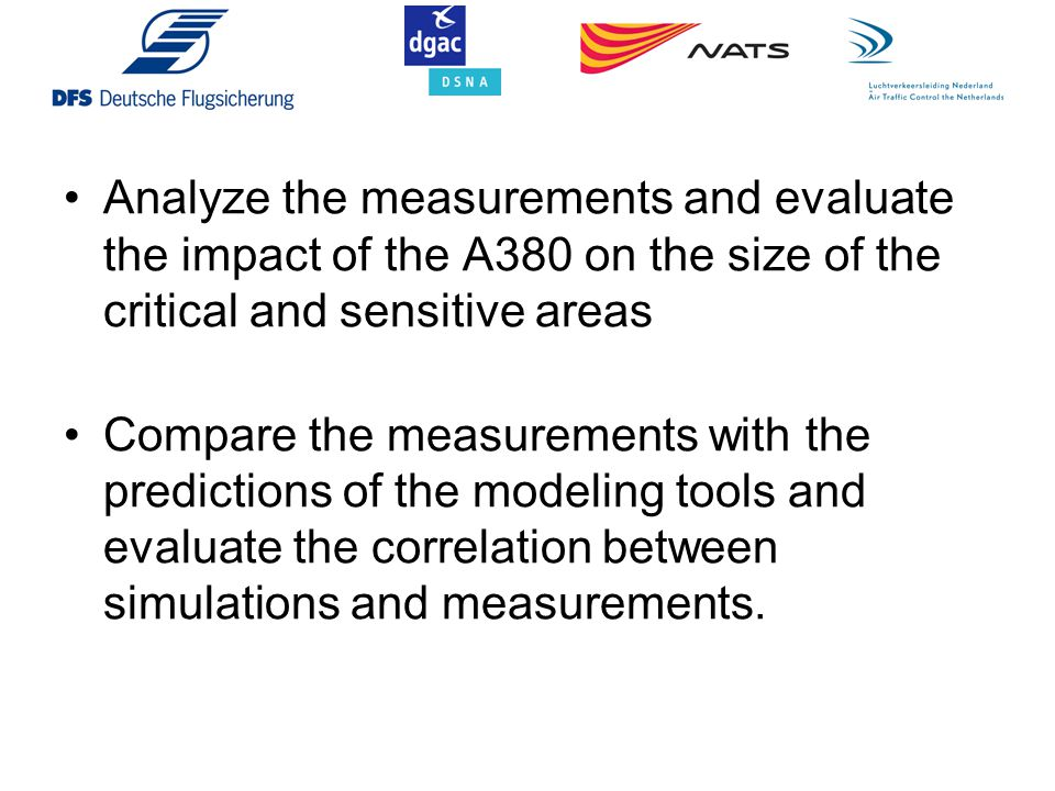Analyze the measurements and evaluate the impact of the A380 on the size of the critical and sensitive areas Compare the measurements with the predict