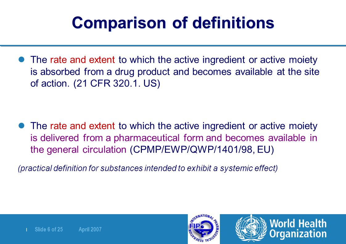   Slide 6 of 25 April 2007 Comparison of definitions The rate and extent to which the active ingredient or active moiety is absorbed from a drug produ