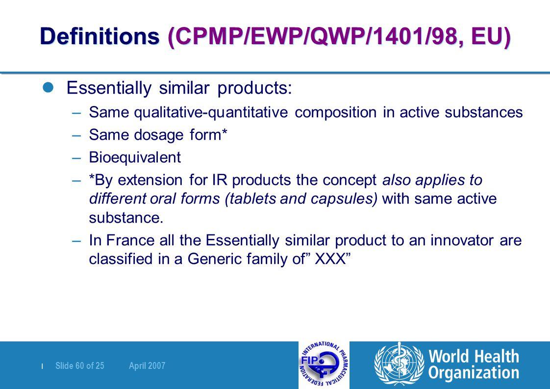   Slide 60 of 25 April 2007 Definitions (CPMP/EWP/QWP/1401/98, EU) Essentially similar products: –Same qualitative-quantitative composition in active