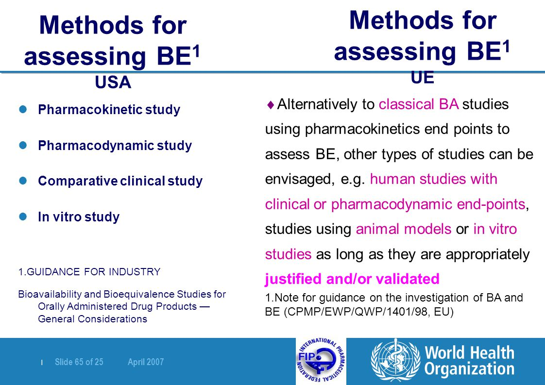   Slide 65 of 25 April 2007 Methods for assessing BE 1 USA Pharmacokinetic study Pharmacodynamic study Comparative clinical study In vitro study 1.GUI