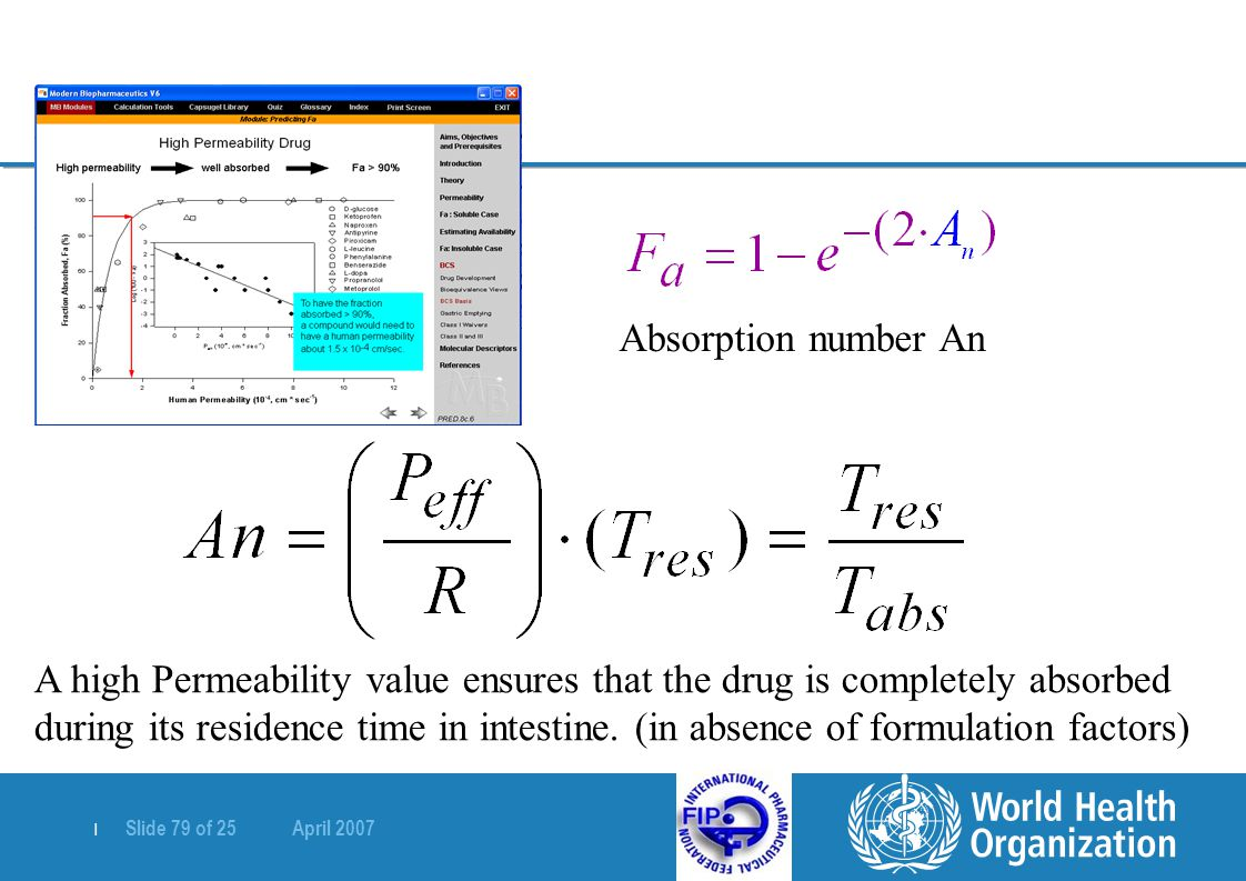  Slide 79 of 25 April 2007 Absorption number An A high Permeability value ensures that the drug is completely absorbed during its residence time in i