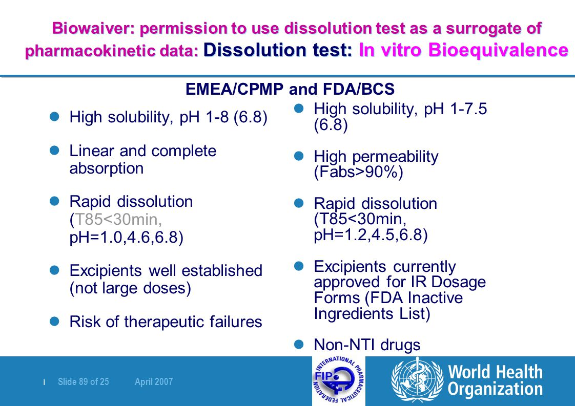   Slide 89 of 25 April 2007 Biowaiver: permission to use dissolution test as a surrogate of pharmacokinetic data: Dissolution test: In vitro Bioequiva