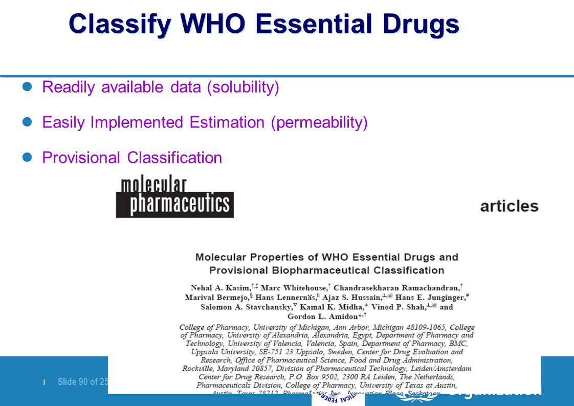   Slide 90 of 25 April 2007 Classify WHO Essential Drugs Readily available data (solubility) Easily Implemented Estimation (permeability) Provisional