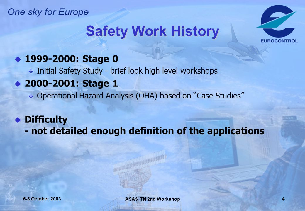ASAS TN 2nd Workshop 6-8 October Safety Work History  : Stage 0  Initial Safety Study - brief look high level workshops  : Stage 1  Operational Hazard Analysis (OHA) based on Case Studies  Difficulty - not detailed enough definition of the applications