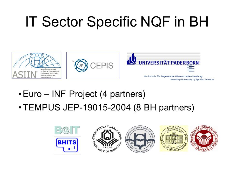 IT Sector Specific NQF in BH Euro – INF Project (4 partners) TEMPUS JEP-19015-2004 (8 BH partners)‏