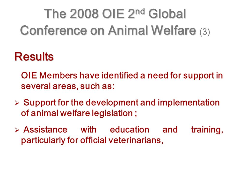 The 2008 OIE 2 nd Global Conference on Animal Welfare The 2008 OIE 2 nd Global Conference on Animal Welfare (3) Results OIE Members have identified a