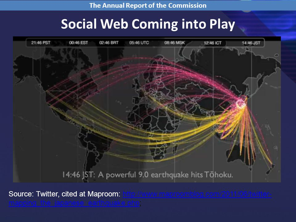 Social Web Coming into Play The Annual Report of the Commission Source: Twitter, cited at Maproom:   mapping_the_japanese_earthquake.php;  mapping_the_japanese_earthquake.php