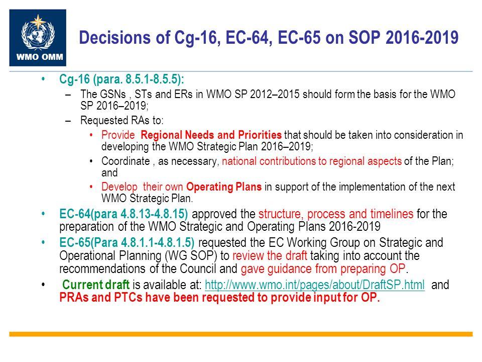 WMO OMM Decisions of Cg-16, EC-64, EC-65 on SOP 2016-2019 Cg-16 (para.