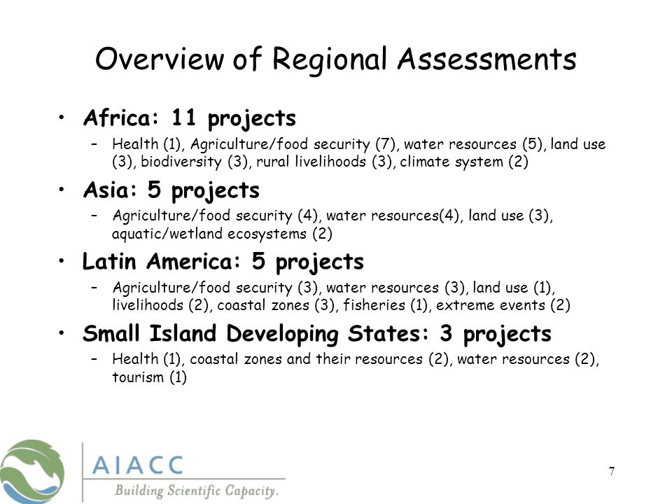 8 Some of the Methods of AIACC Projects Climate scenario generation Climate risk spaces Vulnerability indicators Livelihood approaches Integrated assessment modeling Benefit/cost analysis of adaptation