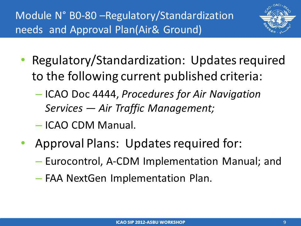 10 Standards – ICAO CDM Manual (being finalised) – European Union, OJEU 2010/C 168/04: Community Specification ETSI EN 303 212 v.1.1.1: European Standard (Telecommunications series) Airport Collaborative Decision Making (A- CDM)2010/C 168/04 – EUROCAE ED-141: Minimum Technical Specifications for Airport Collaborative Decision Making (Airport-CDM) Systems – EUROCAE ED-145: Airport-CDM Interface Specification – ICAO CDM Manual (being finalised) – European Union, OJEU 2010/C 168/04: Community Specification ETSI EN 303 212 v.1.1.1: European Standard (Telecommunications series) Airport Collaborative Decision Making (A- CDM)2010/C 168/04 – EUROCAE ED-141: Minimum Technical Specifications for Airport Collaborative Decision Making (Airport-CDM) Systems – EUROCAE ED-145: Airport-CDM Interface Specification Procedures – TBD Guidance Material – EUROCONTROL A-CDM Programme documentation, including an A-CDM Implementation Manual – FAA NextGen Implementation Plan 2011 ICAO SIP 2012-ASBU WORKSHOP Module N° B0-80 – Reference Documents