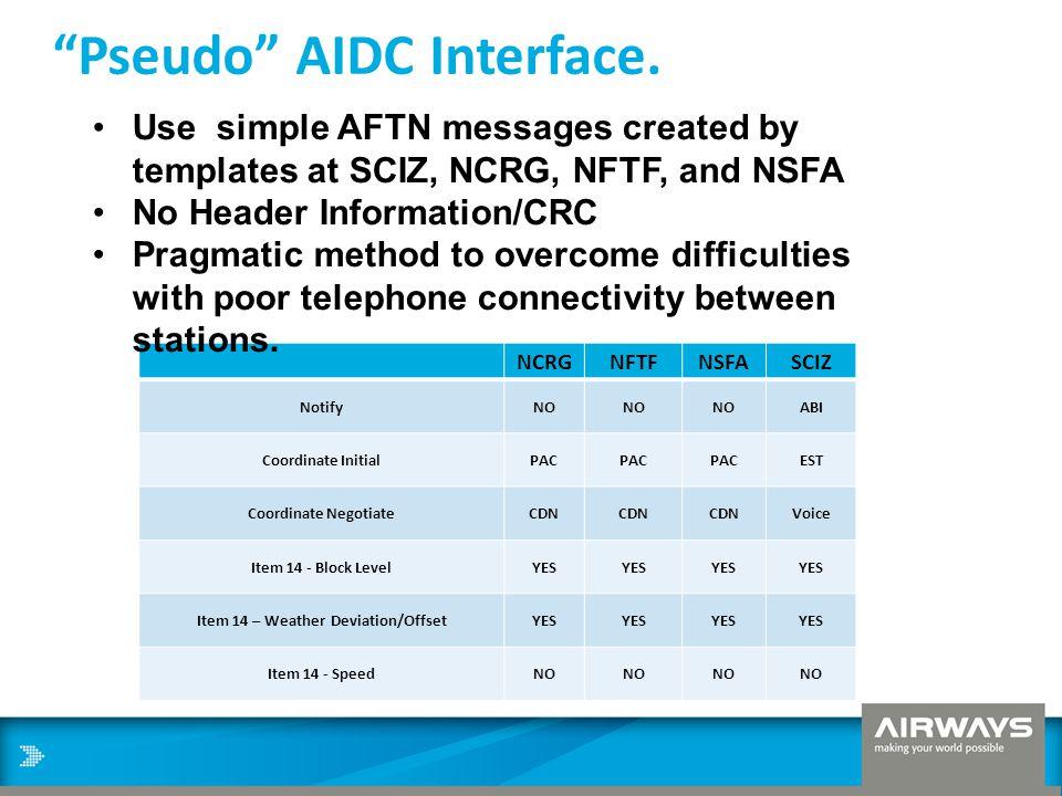 """Pseudo"" AIDC Interface. NCRGNFTFNSFASCIZ NotifyNO ABI Coordinate InitialPAC EST Coordinate NegotiateCDN Voice Item 14 - Block LevelYES Item 14 – Weat"