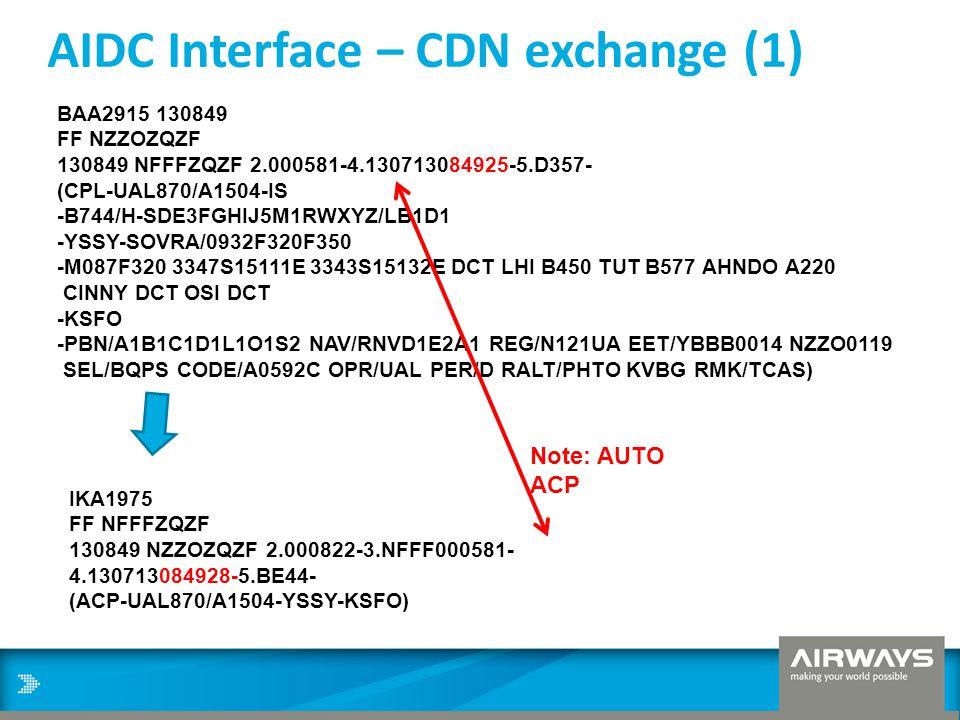 AIDC Interface – CDN exchange (1) BAA2915 130849 FF NZZOZQZF 130849 NFFFZQZF 2.000581-4.130713084925-5.D357- (CPL-UAL870/A1504-IS -B744/H-SDE3FGHIJ5M1