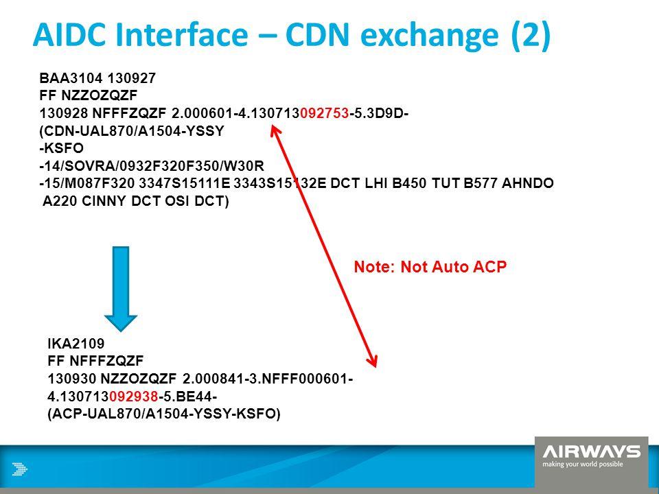 AIDC Interface – CDN exchange (2) BAA3104 130927 FF NZZOZQZF 130928 NFFFZQZF 2.000601-4.130713092753-5.3D9D- (CDN-UAL870/A1504-YSSY -KSFO -14/SOVRA/09